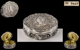 French 19th Century Louis VIIII Silver Snuff/ Trinket Box of stunning quality,