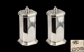 George VI Excellent Pair of Sterling Silver Pepperettes of Cylindrical and Octagonal Form of Solid