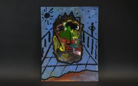 Modern Abstract of a Face by listed British artist Robert Haworth, the Butterfly Man, painted in oil