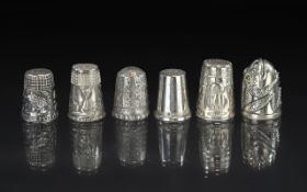 Excellent Collection of Antique and Vintage Sterling Silver Thimbles, six in total,