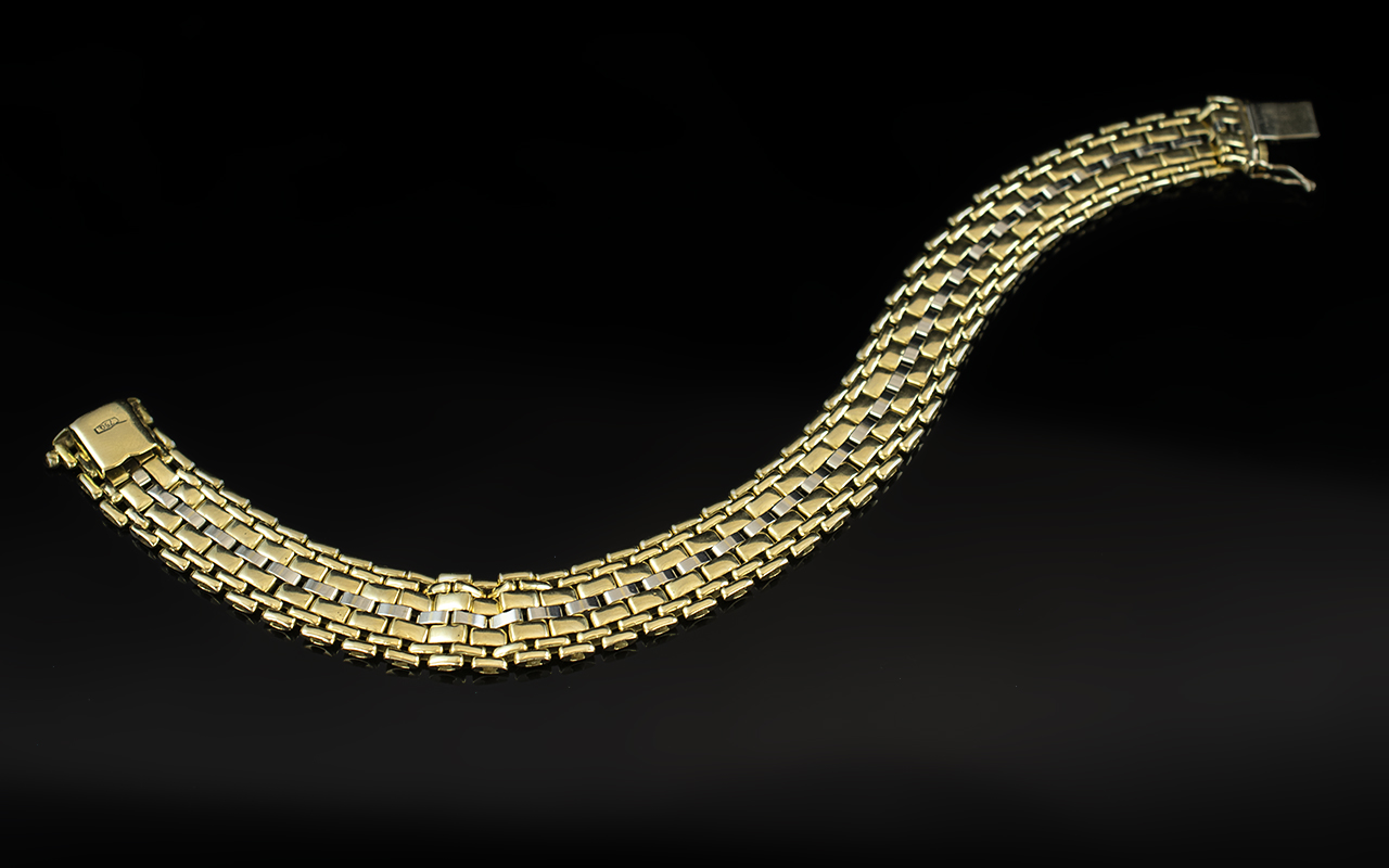 18ct Two Tone Gold - Attractive and Superb Quality Basket Weave Design Bracelet with Full