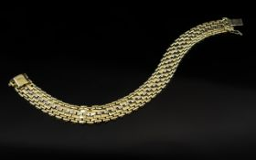 18ct Two Tone Gold - Attractive and Superb Quality Basket Weave Design Bracelet with Full Hallmarks
