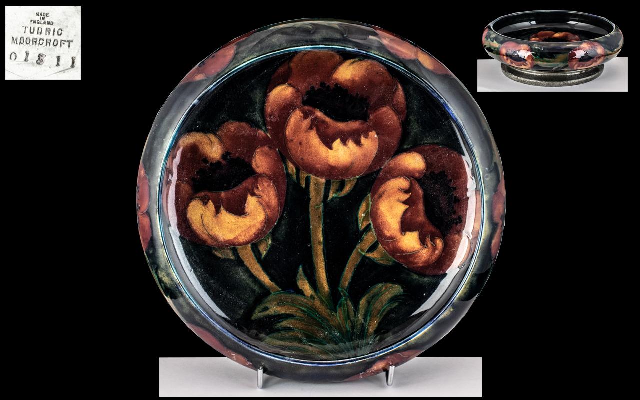 William Moorcroft - Superb Tudric Pewter Mounted Pedestal Bowl ' Big Poppy ' Design. c.1920's.