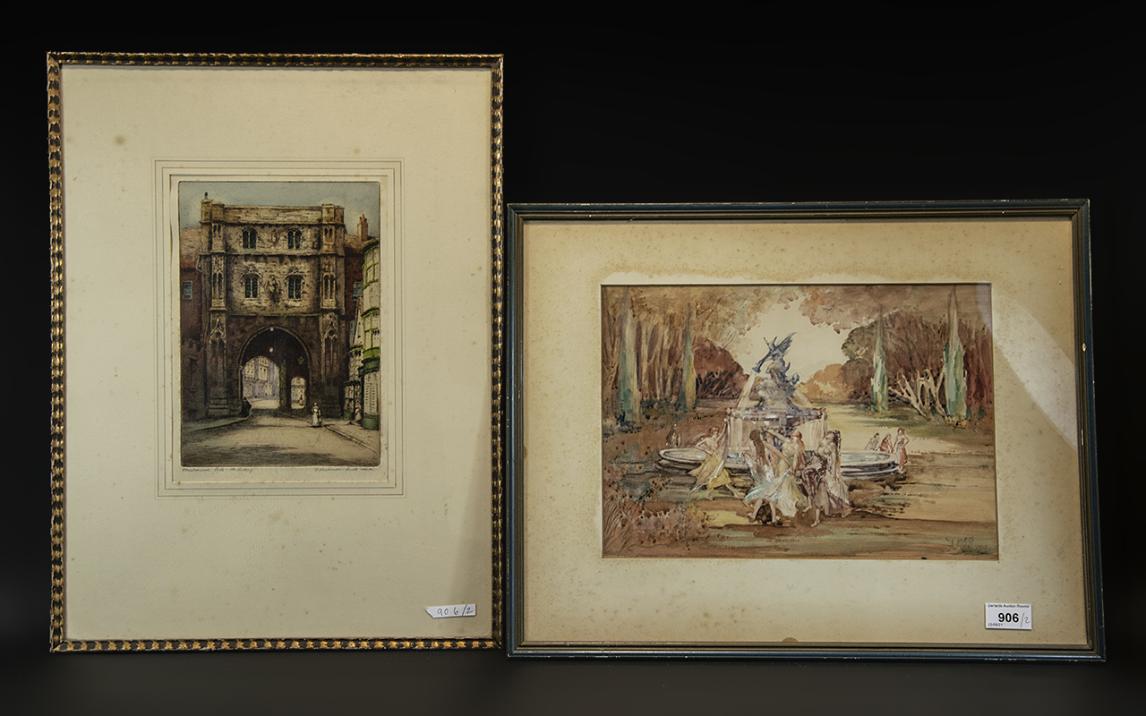 Watercolour Drawing of Girls Dancing Around a Fountain, monogrammed AKJ, framed and glazed, 16