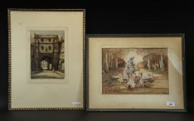 Watercolour Drawing of Girls Dancing Around a Fountain, monogrammed AKJ, framed and glazed,