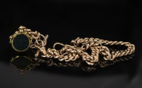 Antique Period 9ct Rose Gold Albert Chain with Attached 9ct Stone Set Swivel Fob and T-Bar.
