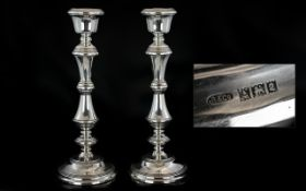 Elizabeth II - Large and Very Fine Pair of Sterling Silver Candlesticks of Pleasing Proportions and