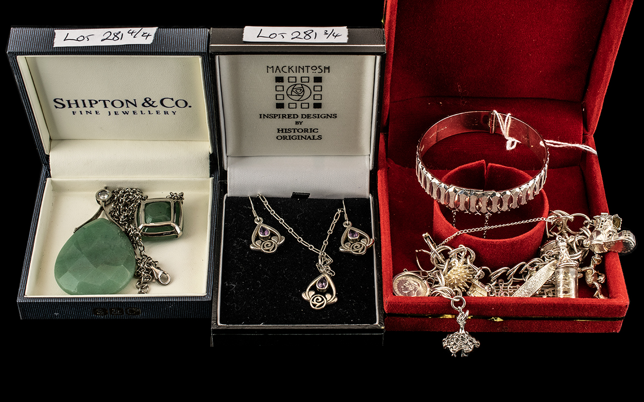 A Small Mixed Collection of Silver Jewellery to include a charm bracelet loaded with 12 charms, a