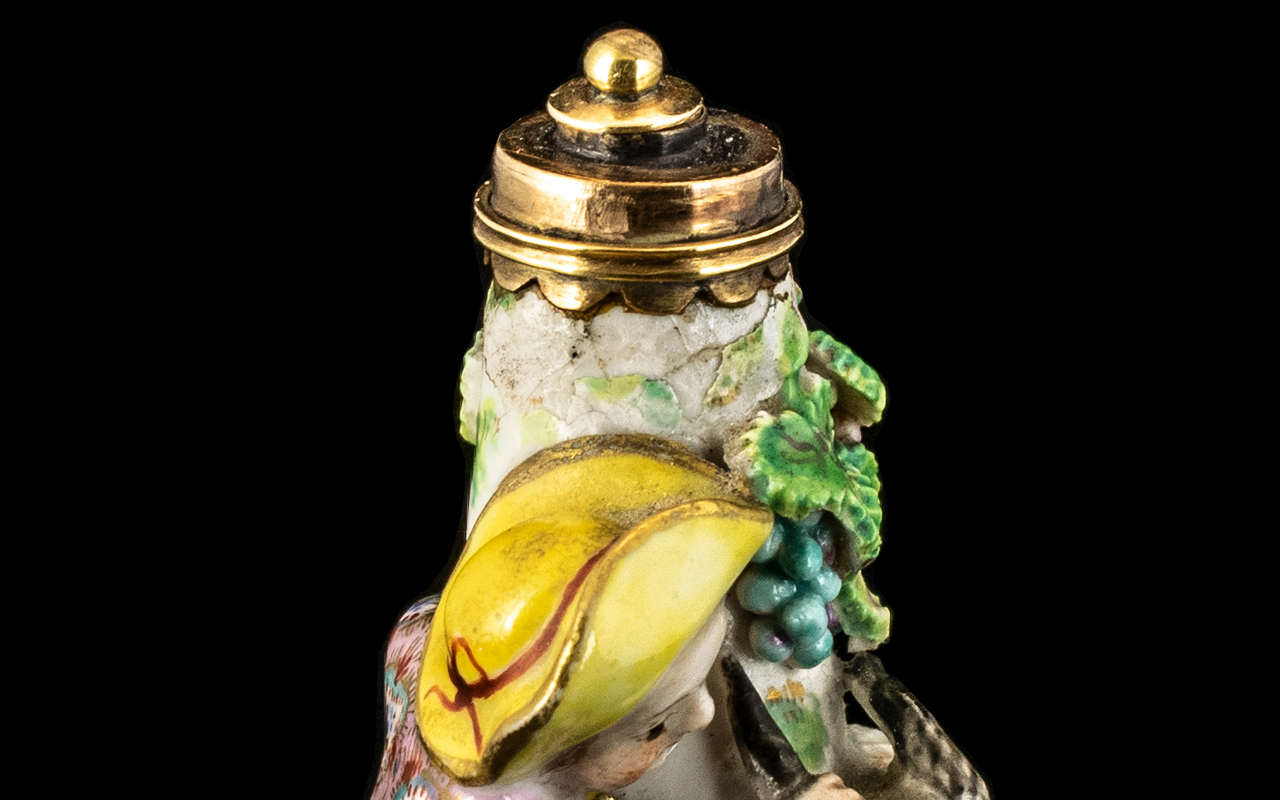 Porcelain And Gold Scent Bottle (18th Century) Modelled as a Goat Herder with Goat. (We Suspect This - Image 3 of 3
