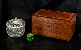A Mahogany Tea Caddy twin compartments of typical form,