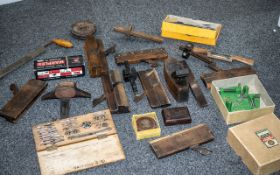 Collection of Antique and Vintage Woodworking Tools and Accessories comprising 7 moulding planes,