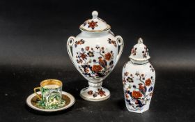Aynsley Bird of Paradise Design Lidded Vase, Together with Smaller Vase and Cover,
