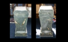 Early 20th Century Marble Effect Wooden Pair of Column Pedestals, a large and impressive matching