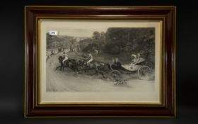 Signed Print by Samuel Waller Depicting a Carriage and Horses chased by a dog; dated 1888,
