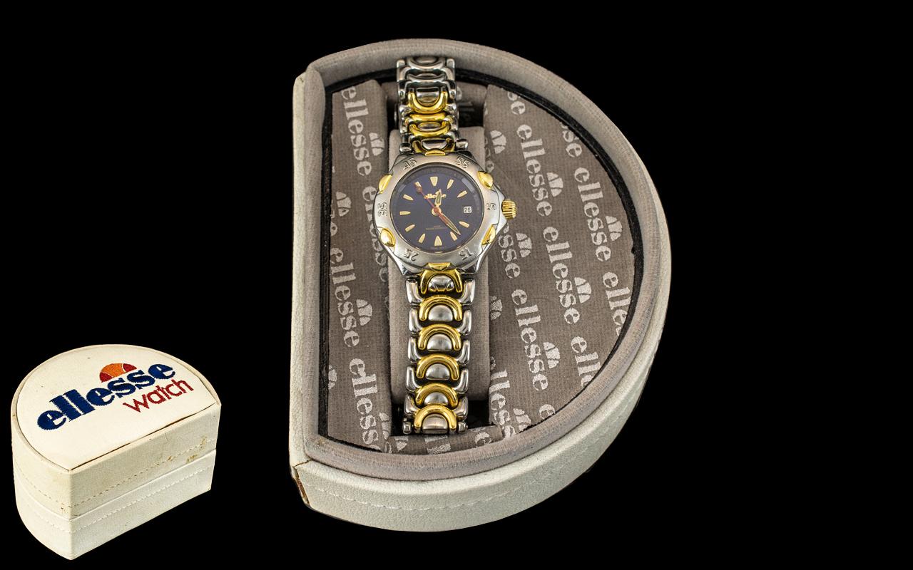 Ellesse - Swiss Ladies Steele and 18ct Gold Capped Links Bracelet Watch, 750 Series. No 2010119 -