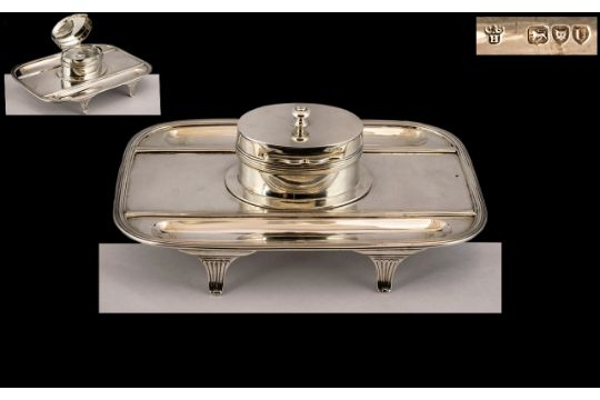 Victorian Period Superb Quality Sterling Silver Ladies or Gentleman's Desk Inkwell and Stand -