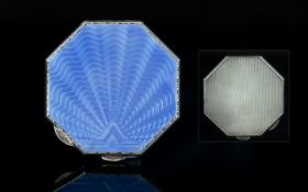 Art Deco Period Superb Quality Sterling Silver Engine Turned Blue Enamel Octagonal Shaped Compact.
