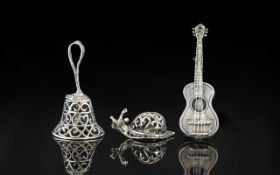 Collection of Novelty Dutch Silver Items. Silver Items to Include Guitar, Snail and Silver Bell.