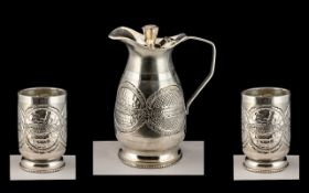 High Grade Indian Silver Water Jug and Goblets wonderful quality and design. Jug stands at 7