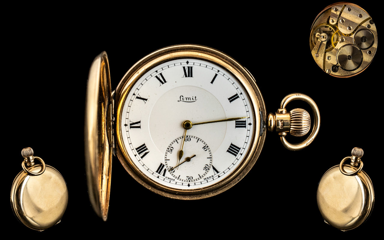 Limit - 9ct Gold Key-less Full Hunter Pocket Watch. Hallmark Birmingham 1945, Signed to Dial and