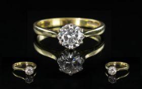18ct Yellow Gold - Attractive Single Stone Diamond Set Ring. Full Hallmark to Interior of Shank.