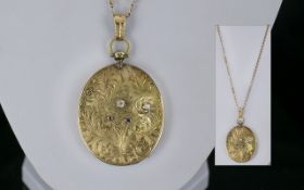 Antique Period - Excellent Quality 15ct Gold Large Oval Shaped Hinged Locket,