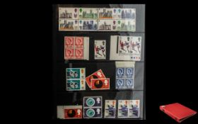 Red Four Ring Album Filled with Stamp Hagners. GB Stamps Almost All Mint from 1937 Onwards. Almost