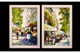Pair of Prints on Canvas highlighted in oils by E Anthony Orme, depicting French street scenes,