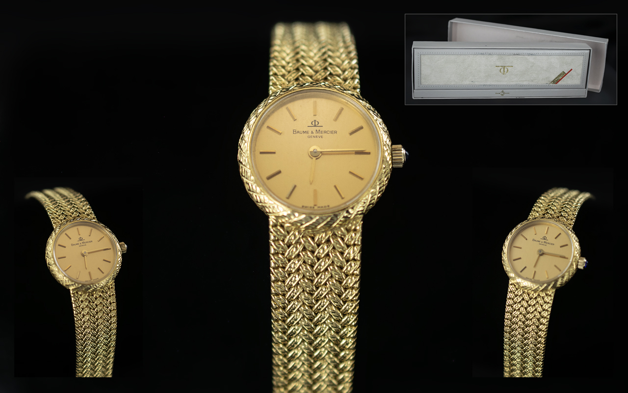 Baume and Mercier Ladies 18ct Gold - Deluxe Wrist Watch with Champagne Dial, Cabouchon Cut