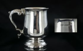 Elizabeth II Superb Sterling Silver Tankard Raised on a Tapered Steps Base of Pleasing Proportions.
