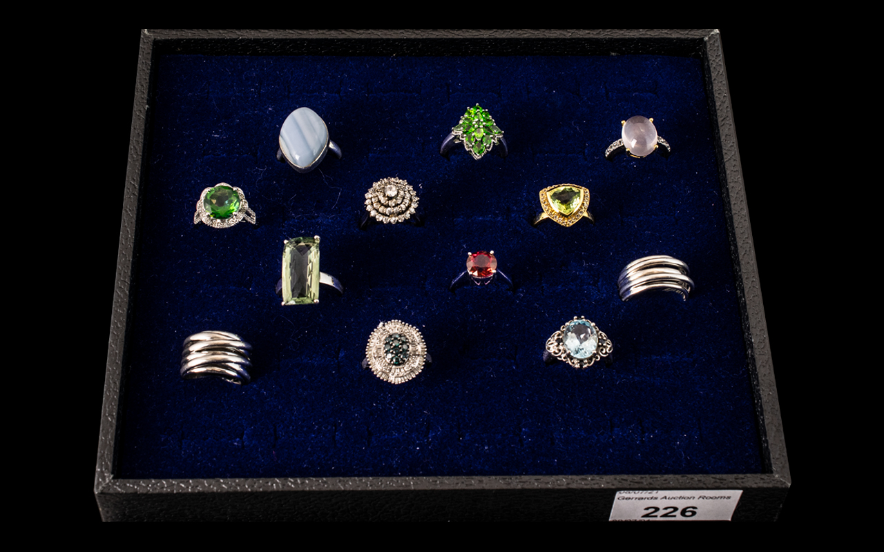 Excellent Collection of Sterling Silver Stone Set Dress Rings. Some Marked T.G.G.C ( Brand ) to