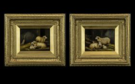 Pair of Small Paintings on Panel Depicting Sheep and Lambs in a barn setting, signed A.