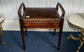 Edwardian Piano Stool, with a lift-up lid and sheet music compartment,