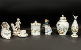 Box of Assorted Porcelain comprising Aynsley 'Just Orchids' lidded pot 7'' tall; Aynsley 'Cottage