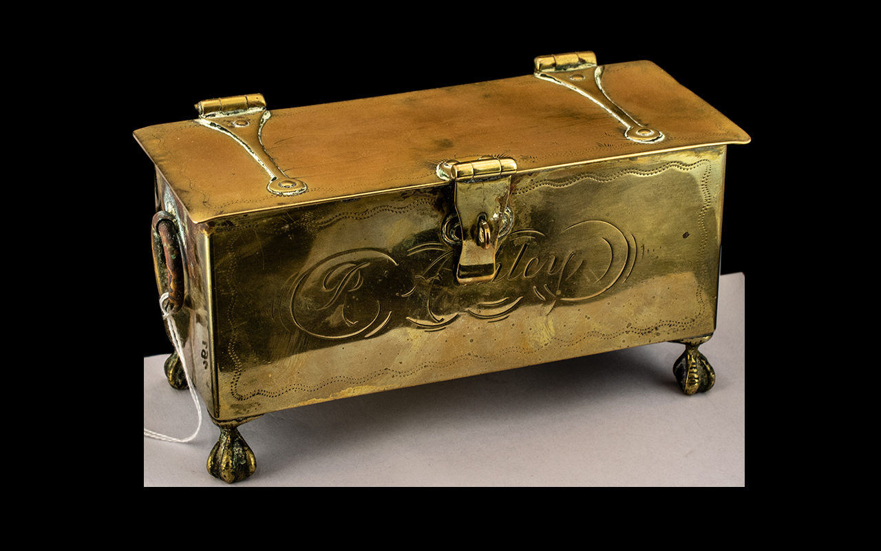 Rare Antique Brass Lidded English Tobacco Box, with a hinged strapwork lid, engraved to the top (but
