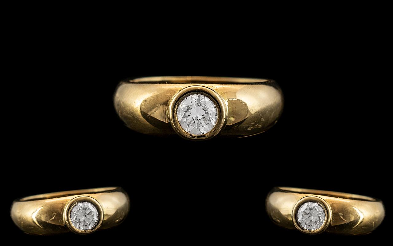 18ct Yellow Gold - Superb Single Stone Pave Set Diamond Ring. The Round Brilliant Cut Diamond of Top
