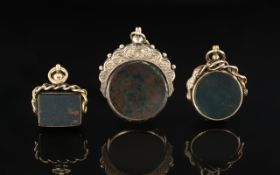 Edwardian Period 1902 - 1910 Trio of Excellent Stone Set 9ct Gold Ornate Swivel Fobs,