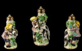 Porcelain And Gold Scent Bottle (18th Century) Modelled as a Goat Herder with Goat. (We Suspect This