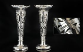 Edwardian Period Fine Pair of Art Nouveau Vases of Tulip Form with Stylaised Open Worked Stems,