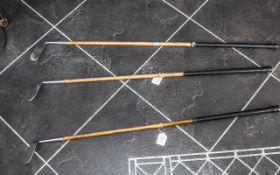 Three Vintage Golf Clubs with hickory sh