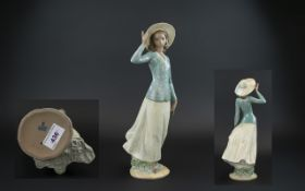 Lladro Gres Hand Painted Figure 'Breezy