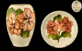 Moorcroft Two Pieces of Coral Hibiscus o