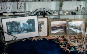 Four Misc Prints glazed and mounted behi
