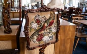 Victorian Carved Walnut Pole Screen of f