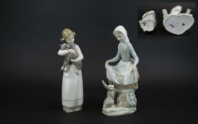 Lladro Hand Painted Pair of Porcelain Fi