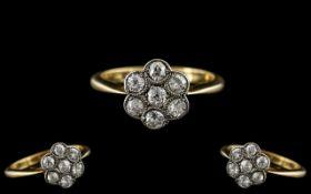Antique Period Attractive Ladies Platinum Diamond Set Cluster Ring - Flower head Setting.