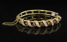 Antique Period - Superb Hand Crafted 18ct Gold Stone Set Hinged Bangle with Safety Chain, Set with