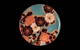 Japanese Ando Enamel Dish with original label; decorated with flowers; 11 inches (27.