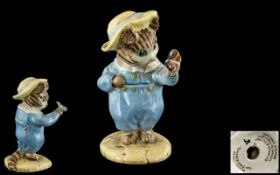 Beswick Beatrix Potter Figure ' Tom Kitten and Butterfly ' BP3C. Blue Outfit and Yellow Hat.