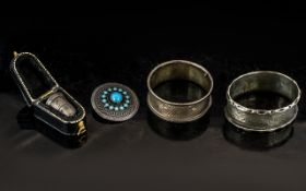 Small Collection of Silver Items, to include two napkin rings,